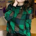 2016 Resorte Femenino Más Tamaño Plaid Imprimir Gasa Camisa Floja Ocasional de Las Mujeres de La Vendimia Del O-cuello de Manga Larga Rebordear Delgado Blusas