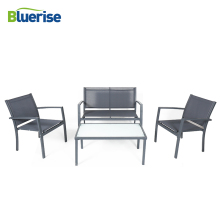 BLUERISE Outdoor Patio Garden Furniture Set Rust-resistant Steel Frame resists fading durable frosted glass top table JYZ3001F
