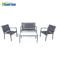 BLUERISE Outdoor Patio Garden Furniture Set Rust resistant Steel Frame resists fading durable frosted glass top table JYZ3001F