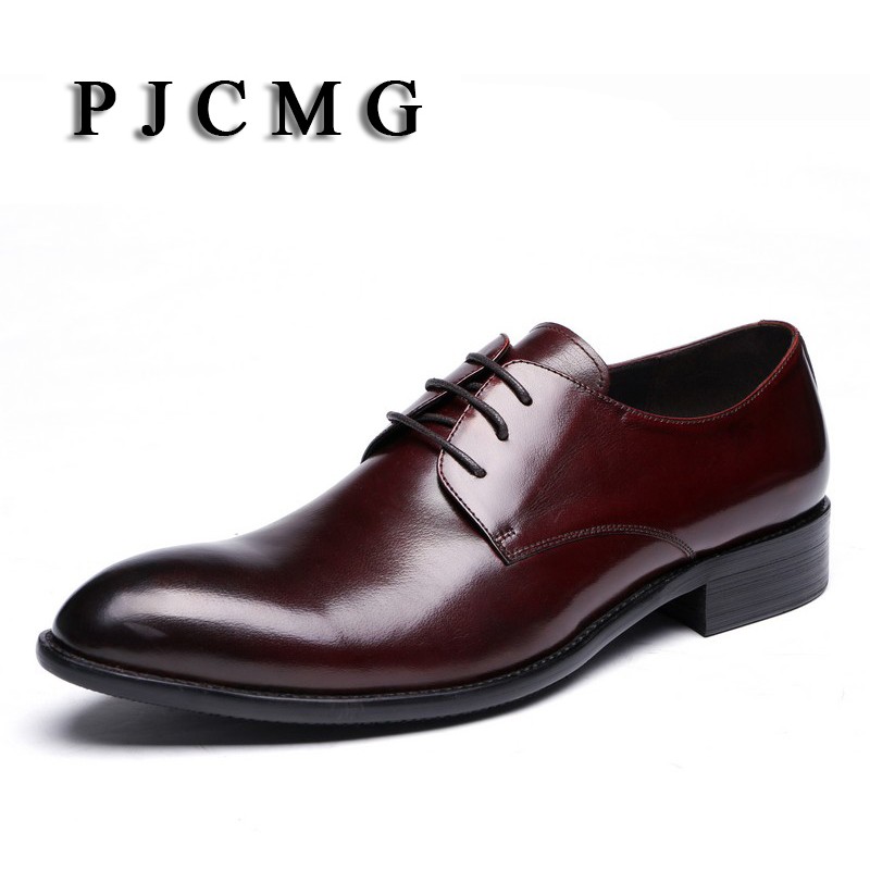 PJCMG Spring/Autumn Men Luxury Black/Red Genuine Leather Dress Wedding Men Pointed Toe Oxford Lace-Up Formal Male Office Shoes