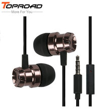 TOPROAD Metal Earphones Super Bass Hifi Half In-ear Earphone with Mic Headset Earbuds Headphones for iphone Sony Xiaomi Mp3 PC(China)