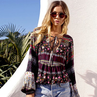 Women Summer Floral Printed Blouses Shirt Bohemian V Neck Lace Up Tops Boho Ethnic Long Sleeve