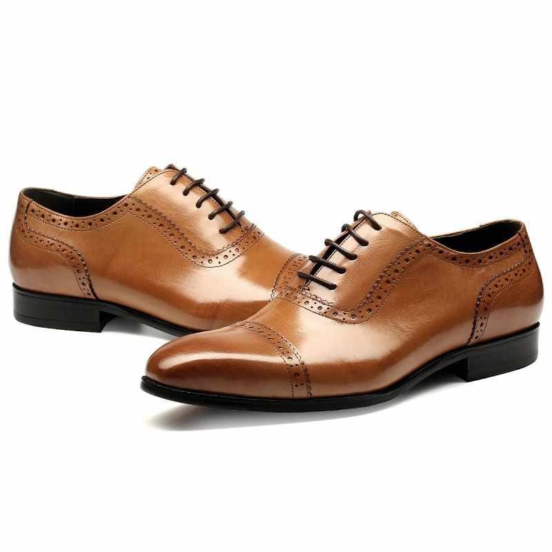 Mùa thu Đông Nam của Leather Business Ăn Mặc Giày Nam Giới Thấp Đầu Thở Khâu Da Nhọn Oxfords Wedding Shoes cho Nam Giới