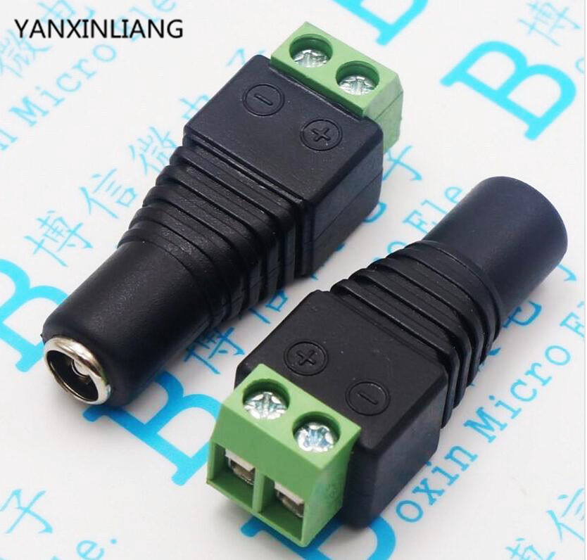 10pcs DC plug CCTV Camera 55mm x 21mm DC Power Cable Female Plug Connector Adapter Jack 55*21mm to connection led strip