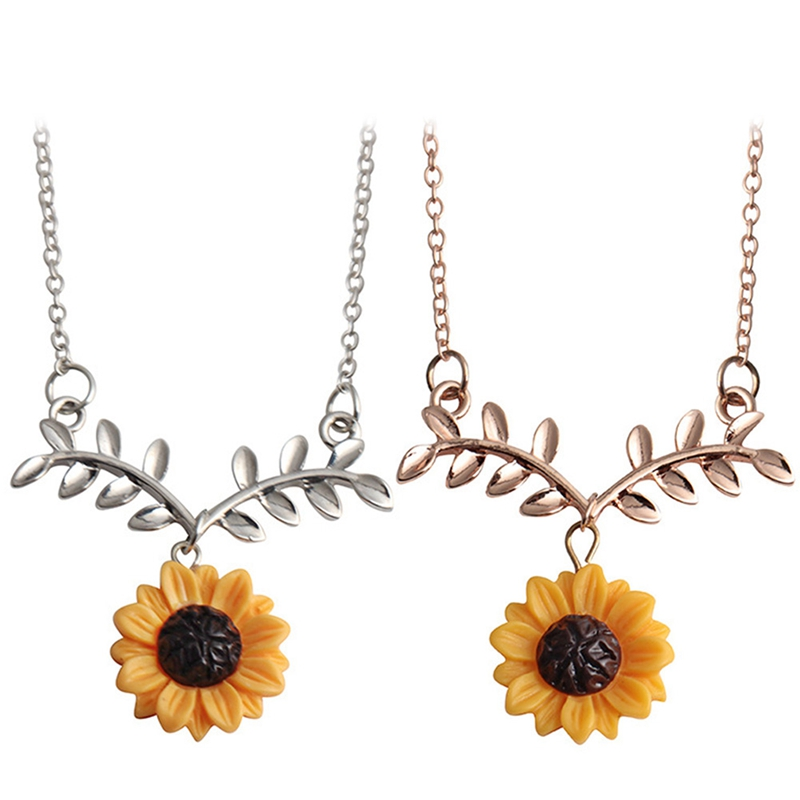 7c66ec0ca06f2 US $0.51 7% OFF|New Cute Sunflower Leaf Branch Pendant Clavicle Necklace  for Gifts Women Jewelry Birthday Gift Boho style Accessories Jewelry-in ...