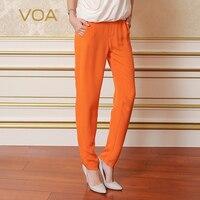 VOA летом оранжевый черный тяжелый шелк узкие брюки женские Мода 2017 г. Повседневное ботильоны на плоской подошве Длина Для женщин шаровары