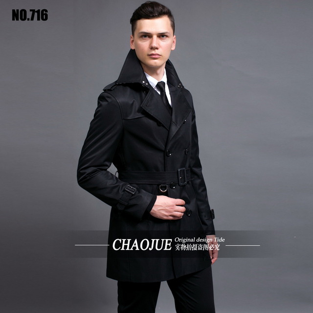 2019 Men Trench Coat Casual Turn-down Collar Long Sleeve Spring Autumn Long Coat Double Breasted Windbreaker Coat 4 Color S-6XL