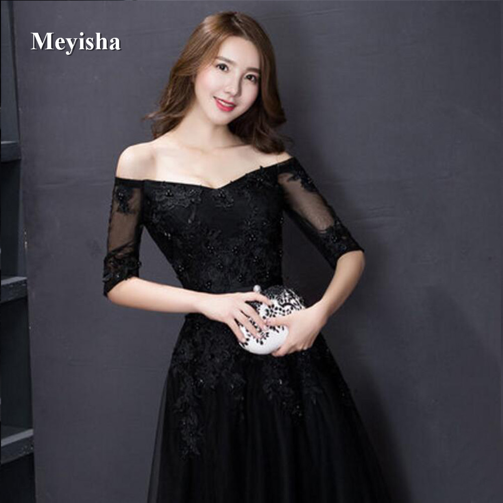ZJ7011 Elegant Black Appliques A-Line Long Lace Tulle Prom Dresses 2018 Plus Size Evening Party Gowns Customer Made