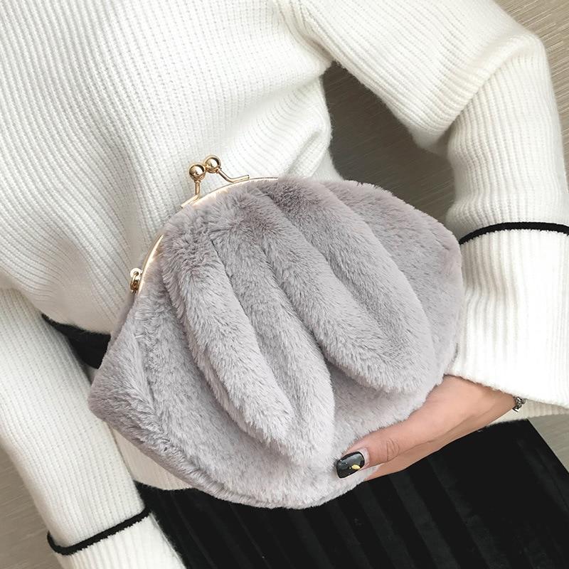 2018 Winter Tasche Neue Frau Tasche Umhängetasche Kette Shell Niedliche Plüsch Imitation Pelz Handtaschen Verbraucher Zuerst