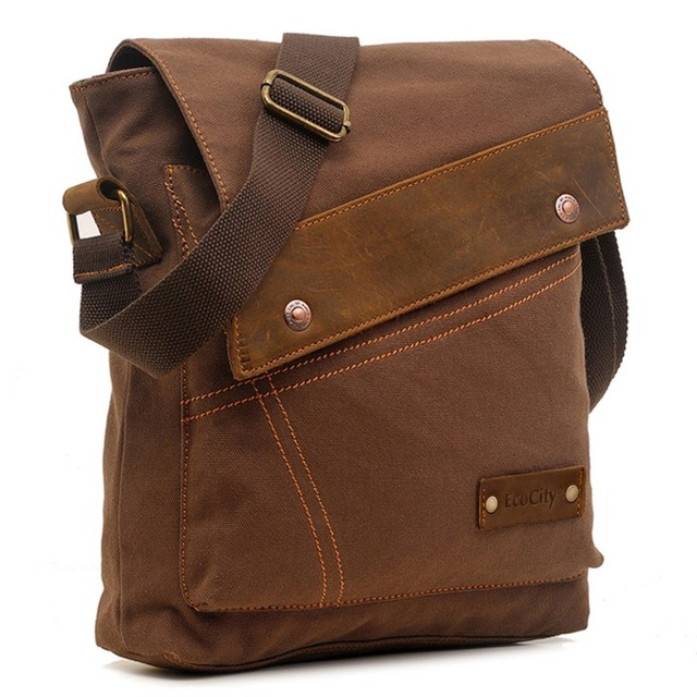 Ecocity New Fashion Designer Mens Canvas Messenger Bags Boys Bag School Satchel Business Shoulder