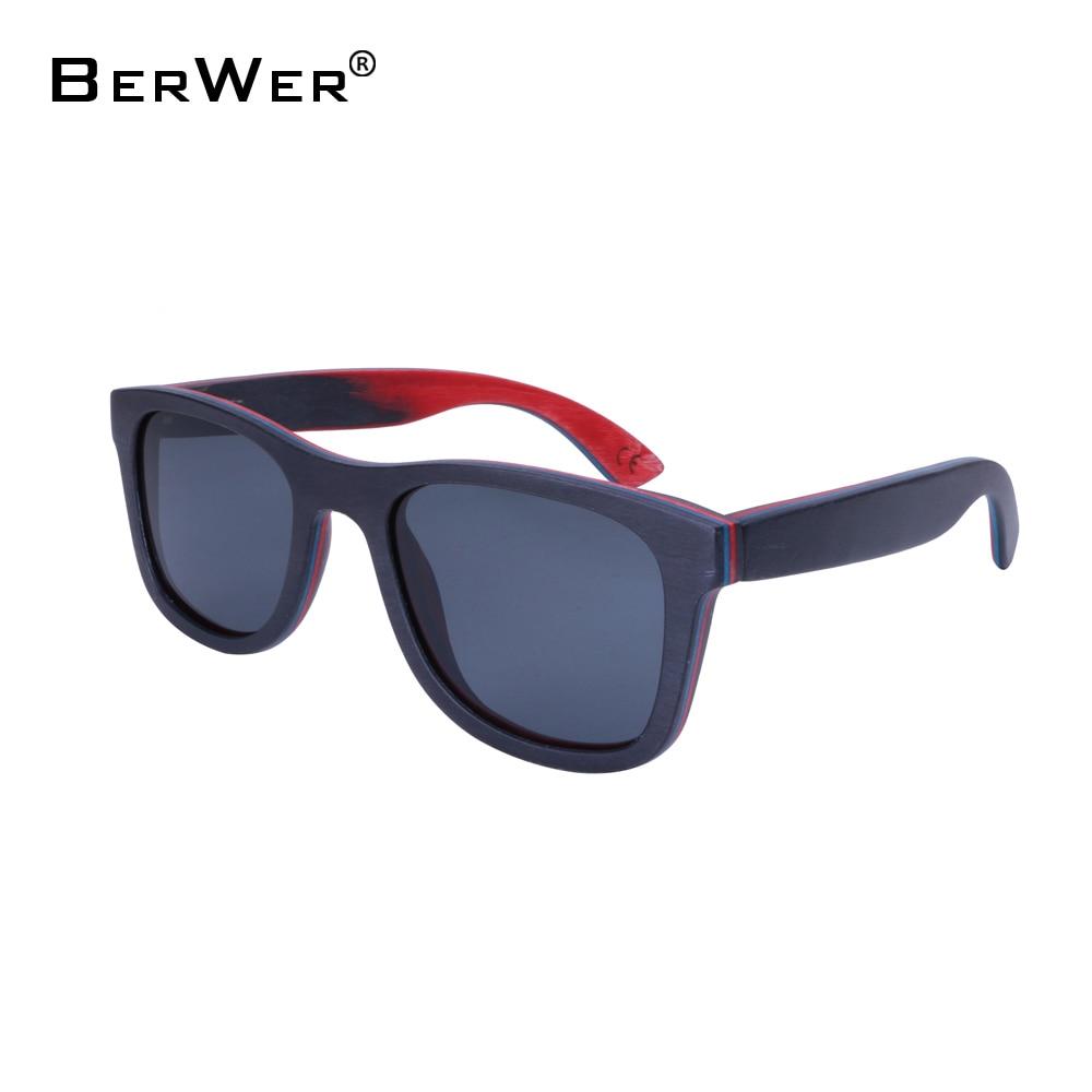 Мъжки слънчеви очила BerWer 2019 скейтборд ръчно изработени слънчеви очила UV400 защита дървени слънчеви очила