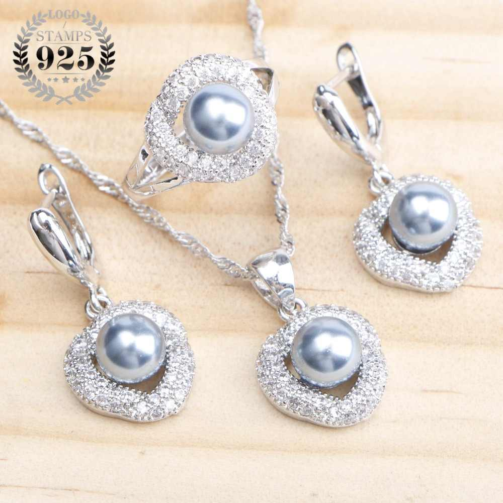 925 Sterling Silver Pearl Bridal Jewelry Sets Earrings For Women Wedding Jewelry CZ Pearls Ring Pendant Necklace Set Gift Box