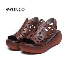 SWONCO Women's Sandals 2018 Summer Genuine Leather Thick Sole Ladies Shoe Gladiator Sandals Women Flat Non-slip Retro Woman Shoe