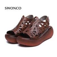 SWONCO Women's Sandals 2018 Summer Genuine Leather Thick Sole Ladies Shoe Gladiator Sandals Women Flat Non slip Retro Woman Shoe