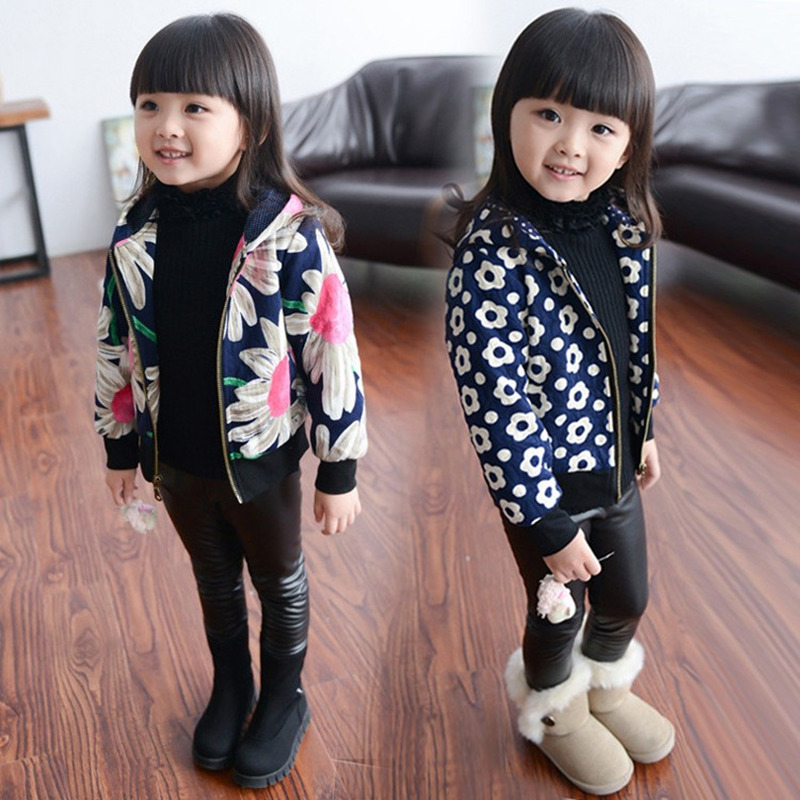 2017 New Girls Jacket Childrens Parkas Winter Jackets For Girl Clothing Kids Hooded Coat Plus Velvet Flower Jacket For Girls