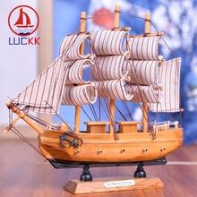 LUCKK 20CM Wooden Ships Model Natural Wood Home Interior Decoration For Crafts Vintage Cannon Room Sea Ornaments Boat