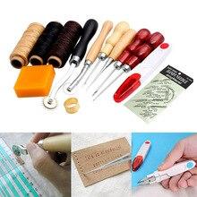 13 Stücke Neue Lederhandwerk Hand Nähen Sewing Werkzeuge Gewinde Ahle Gewachste Fingerhut Kits