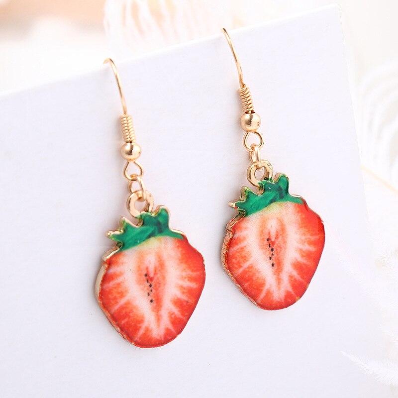 3 pairs of Red fruit enamel earrings - Apple strawberry cherry :