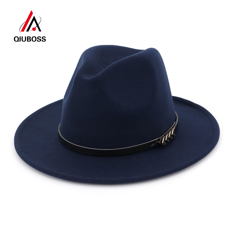 9054f79ad QIUBOSS Wholesale Unisex Wool Felt Fedora Hats for Women Vintage ...
