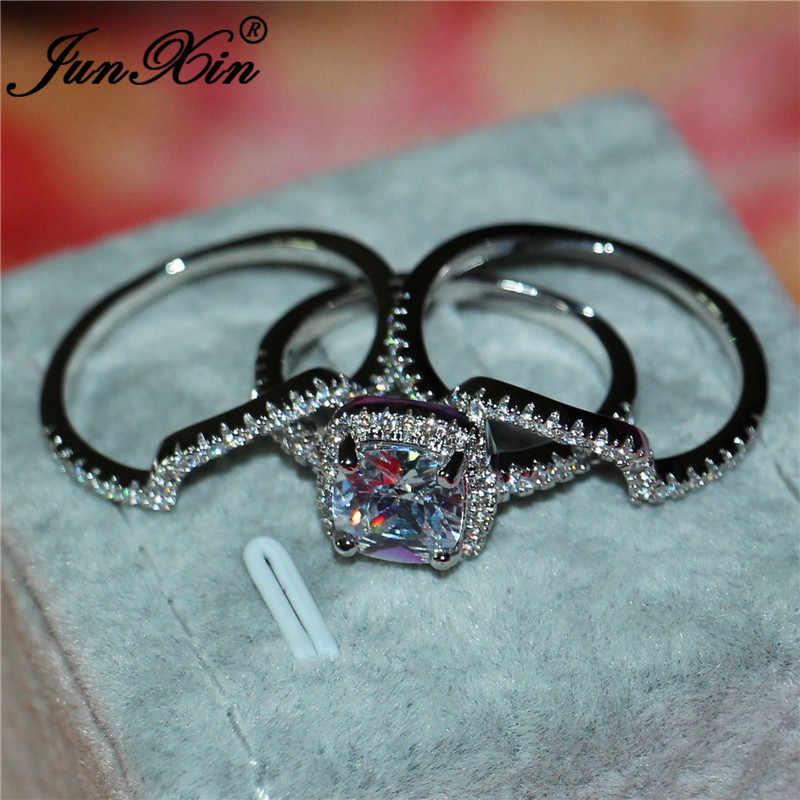 หญิงหรูหราสีขาว Zircon แหวนแฟชั่น 925 เงินคริสตัลแหวนเจ้าสาวสำหรับผู้หญิงน่ารักสัญญาหมั้นแหวน