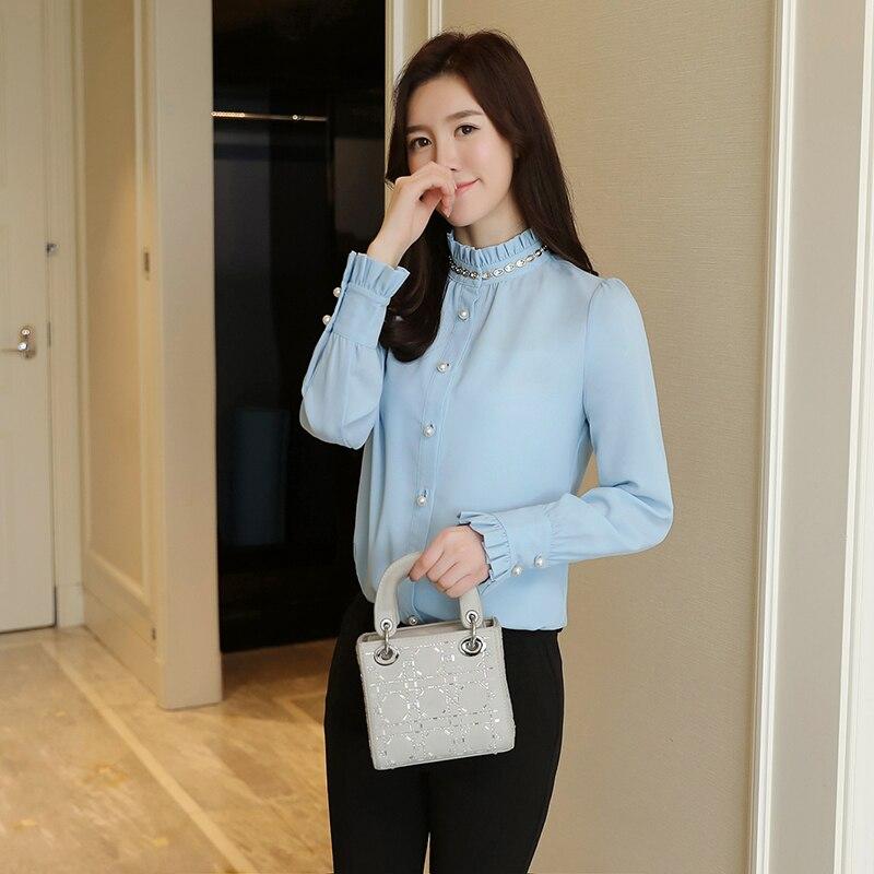2018 Spring Fashion Women Shirts Full Sleeve Chiffon Stand Neck Stretch New Drilling Chain Blouse Shirt Sky Blue White 01716