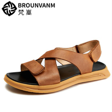Fashion Boys Hook Loop Real Leather Sandals Lesiure Men Cross-Tied Summer Ankle Strap Casual Slides Shoes