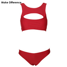 Make Difference Classic Red Cropped High Neck Bikini Sets 2018 Women's Swimwear Swimming Bathing Suits Swimsuits for Woman Girls