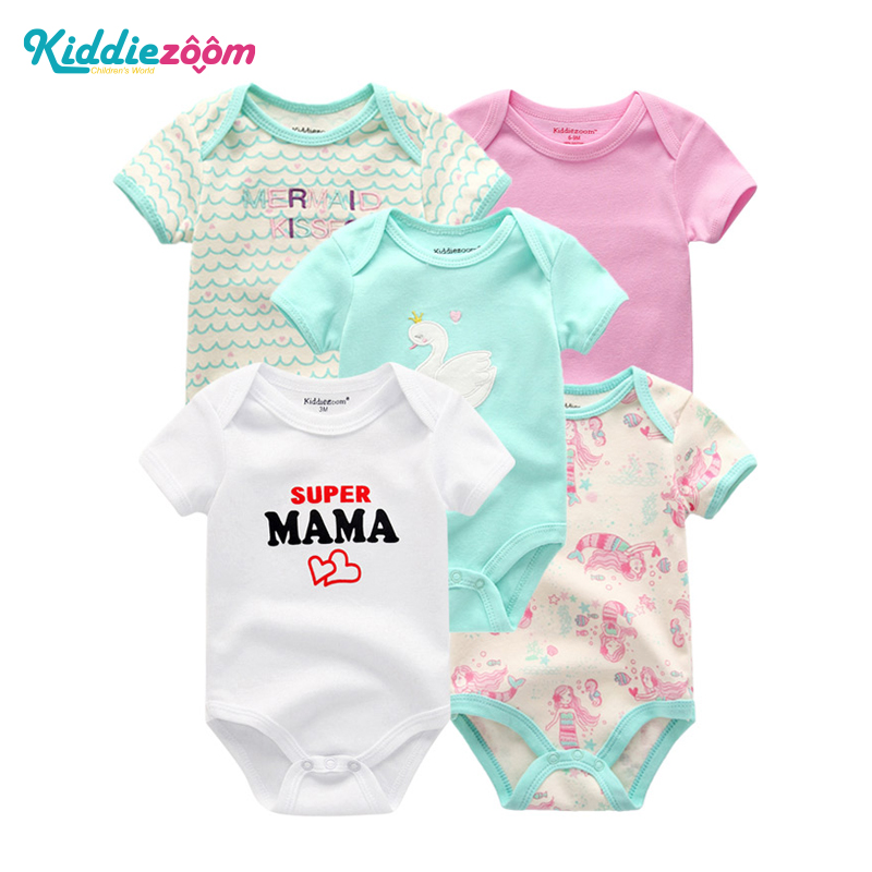 5 PCS/lot Newborn Baby Girl Bodysuit Short Sleevele Playsuits Summer Baby Boy Jumpsuit O-neck 0-12M Cotton Baby Girls Clothes
