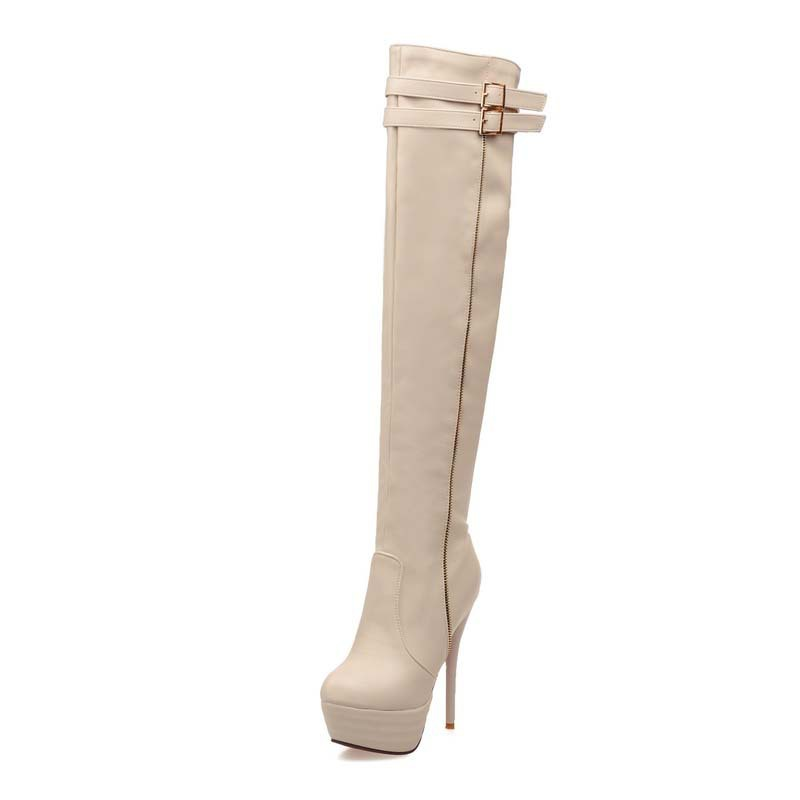 ФОТО AirfourBig Size34-46 Women Boots Shoes Thin Heels High Fashion Over-the-Knee Boots Platform Winter Long Boots For Women Sexy