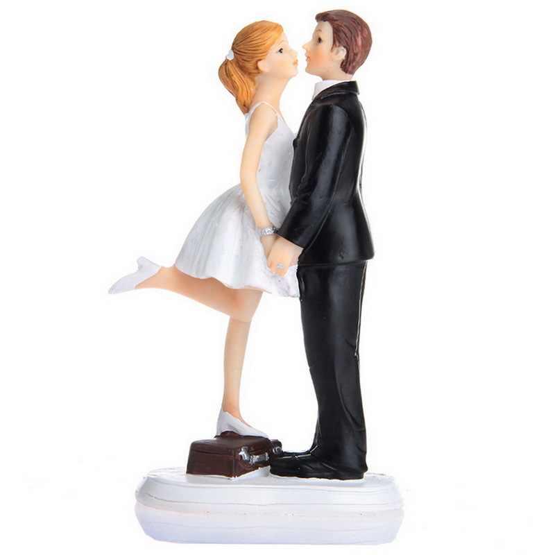 1 pieza novia y novio americano propuesta de beso figurita divertida pastel de boda Topper personalizado evento Fiesta suministros matrimonio