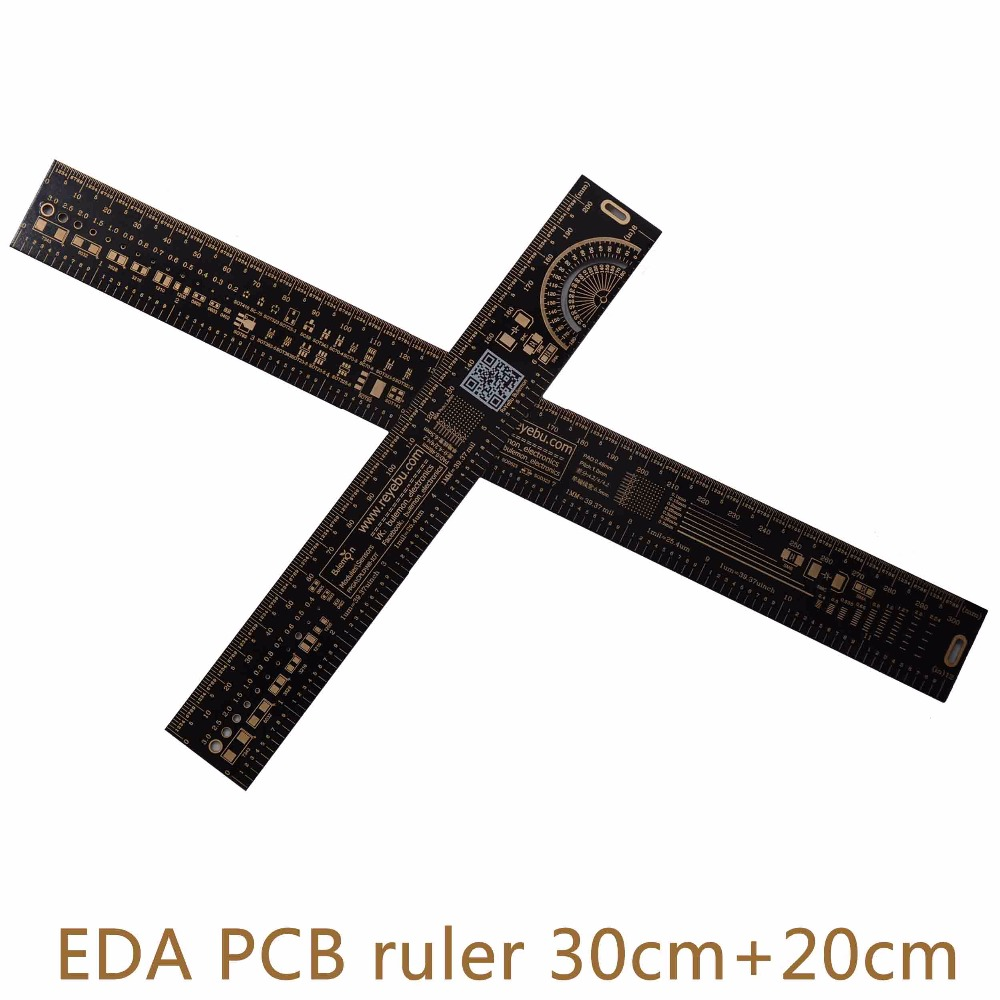 30cm+20cm PCB Ruler EDA Measuring Tool Accurate Reversible High Precision Hardness Protractor 11.8/7.8 Inches