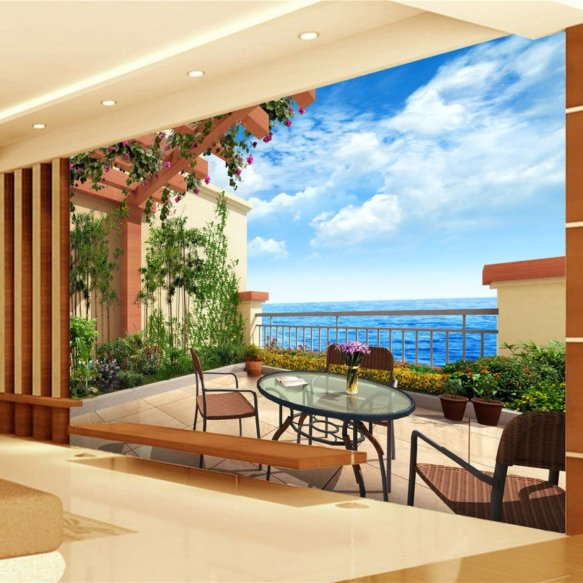 Custom Photo Wall Paper Mural 3D Villa Balcony European Style Home Interior Decoration Wall Art Painting Non-woven Wallpaper beibehang lovely abc print kid bedding room wallpapers ecofriendly fantasy non woven wall paper children mural wallpaper roll