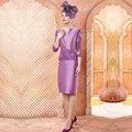 Roxo elegante Bainha 3/4 Mangas Renda Mãe da Noiva Vestidos Na Altura Do Joelho Evening Prom Formal Vestido Renda Turquesa M150
