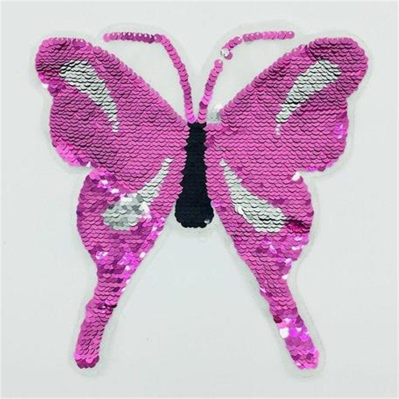Patch deal with it clothes t shirt women stickers Reversible change color sequins butterfly 22cm animal patches for clothing