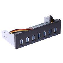 """7 портов USB 3.0 хаб 5Gbs 5.25 """"CD-ROM Drive Bay CD ROM Передняя панель для корпуса компьютера USB 3.0 19-контактный разъем для Type-A Мужской кабель"""