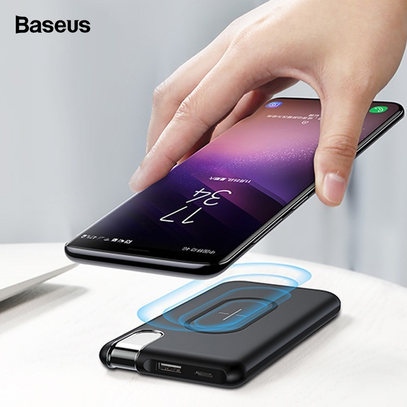 Baseus 10000mAh QI Wireless Charger Power Bank For iPhone Xs Samsung S10 Poverbank Wireless Charging Powerbank External Battery
