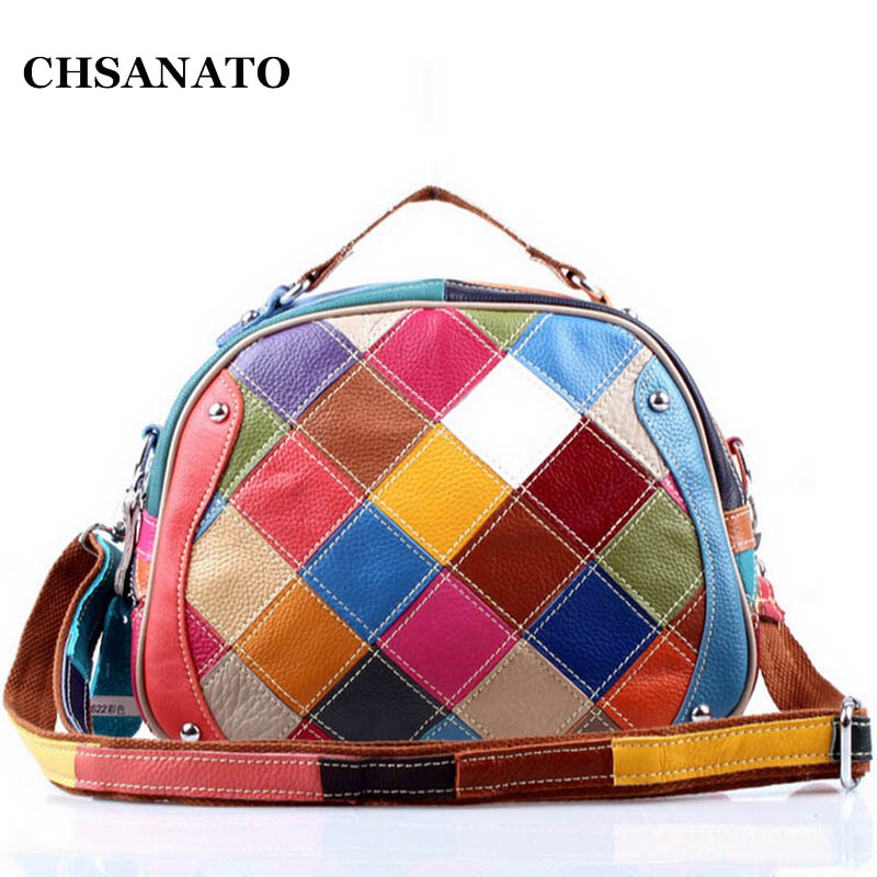 Genuine Leather Shell Shoulder Bag Patchwork Colorful Tote Lady Crossbody Bags Fashion Women Messenger Bags genuine leather women s shoulder bag fashion patchwork plaid women cross body bags colorful tote lady messenger bag