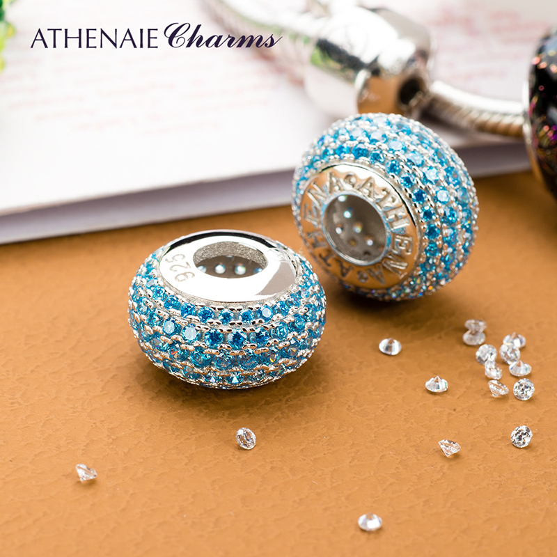 ATHENAIE 4 Colors Genuine 925 Sterling Silver Charms Bead Pave CZ Beads Color Blue Fit Charm Bracelet Authentic Jewelry Gift