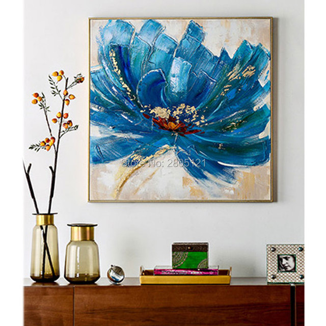 Hand painted floral oil painting on canvas blue flower wall art square wall pictures for living