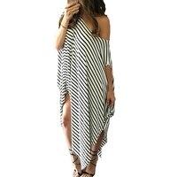 Hot Women Loose Striped Batwing Sleeve Long Maxi Dress Split Casual Beach Dresses Off shoulder Wear Vestidos
