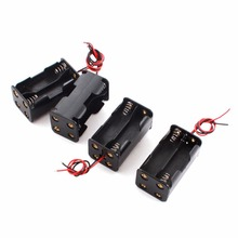 50pcs/lot MasterFire 18650 Battery Holder 6V for 4 x AA Batteries Black Plastic Storage Box Case Dual Layers With Wire Lead