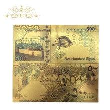 10pcs/lot Hot Sale For Color Qatar Banknotes Five Hundred Ri