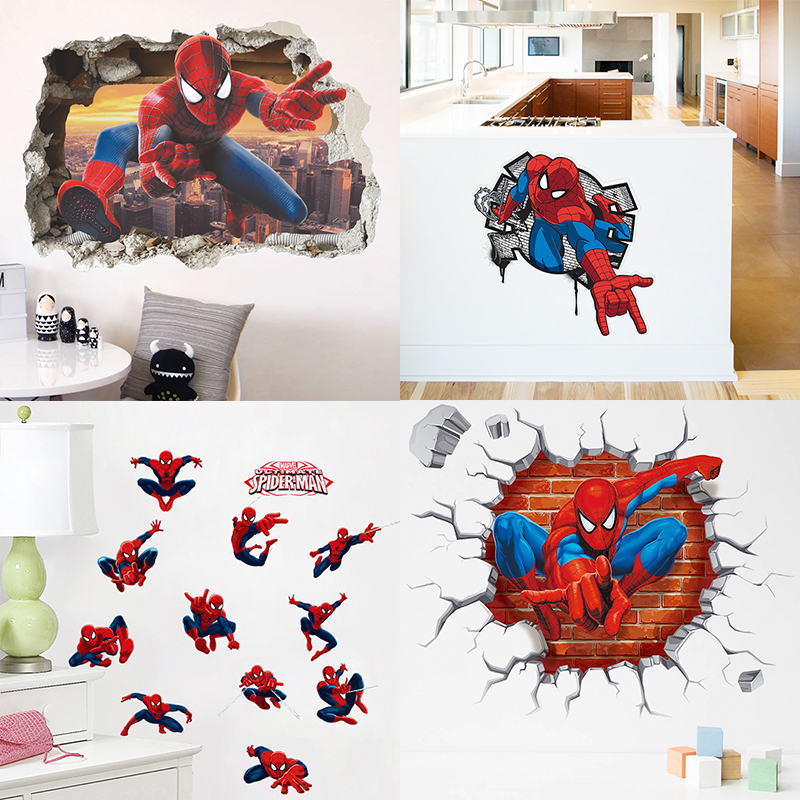 Spiderman Bedroom Wall Art Luxurious Bedroom Interior Design Ideas Bedroom Black And White Bedroom Design For Guys: Spiderman Super Heroes Wall Stickers For Kids Room
