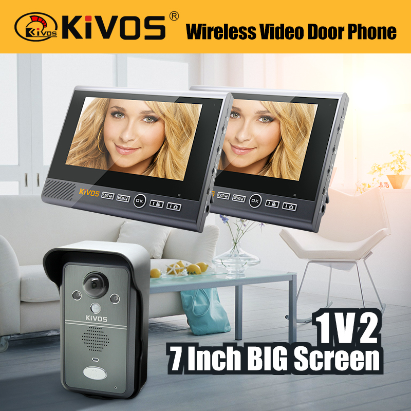 7 Inch 1V2 Monitor 2.4G Wireless Long Distance Intercom Angle Adjustable Video Door Phone