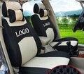Asiento delantero 2 cubierta para honda civic accord crv fit xrv gris azul ventilar empresa insignia del bordado fundas de asiento de coche