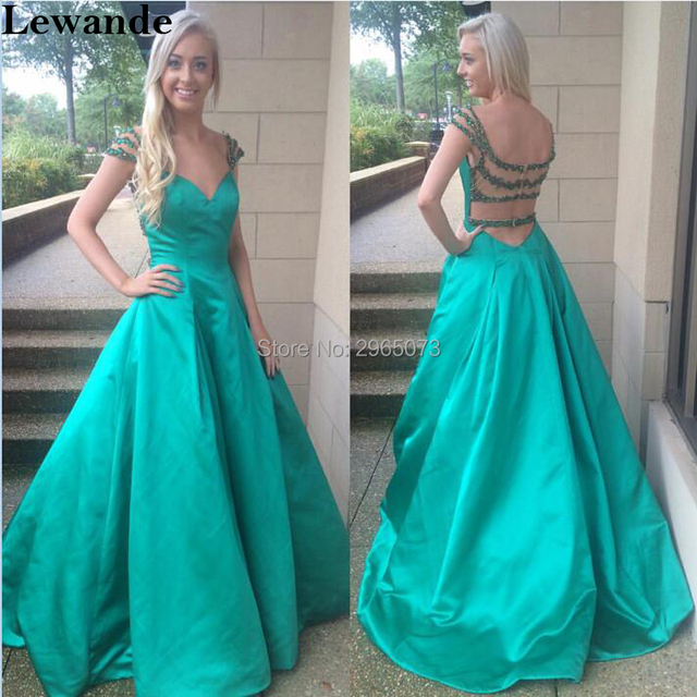 6f32d96b428 Open Back Satin Beaded Seniors Prom Dress 50229 Cap Sleeve Floor Length  Train Sexy Sweetheart Evening Pageant Ball Gown 2018