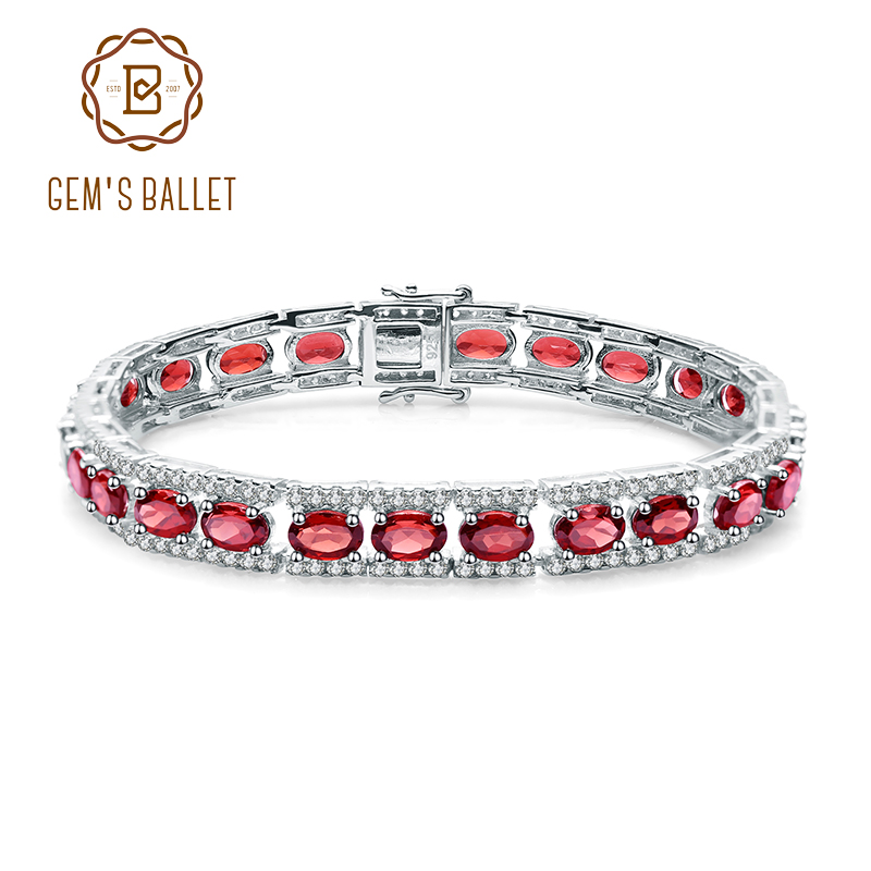 GEM'S BALLET 0.6Ct Natural Garnet Gemstone 925 Sterling Silver Vintage Bracelets&bangles For Women Wedding Engagement Jewelry