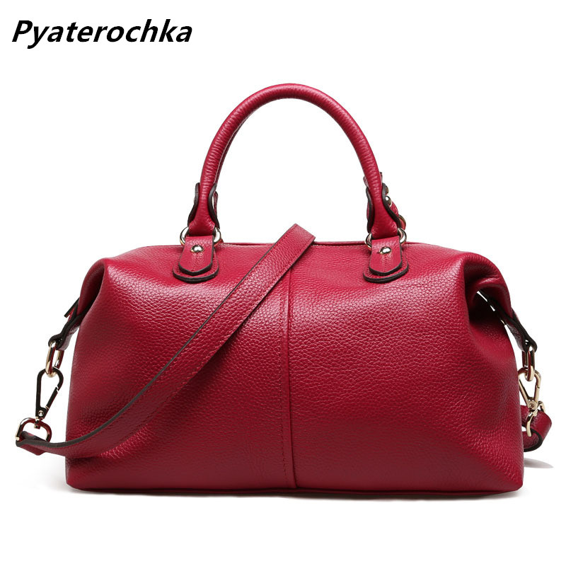 Ladies Boston Handbags Genuine Leather Red Shoulder Bag Luxury Crossbody Tote Bags For Women Designer Casual Leather Handbag Bag laorentou cowhide leather shoulder bag ladies leather luxury handbags women bags designer ladies shoulder bag casual tote