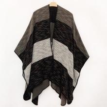 New 2019 Women Winter Scarf Warmer Shawl Ladies Vintage Plaid Blanket Knit Wrap Cashmere Poncho Female Echarpe Striped Pashmina