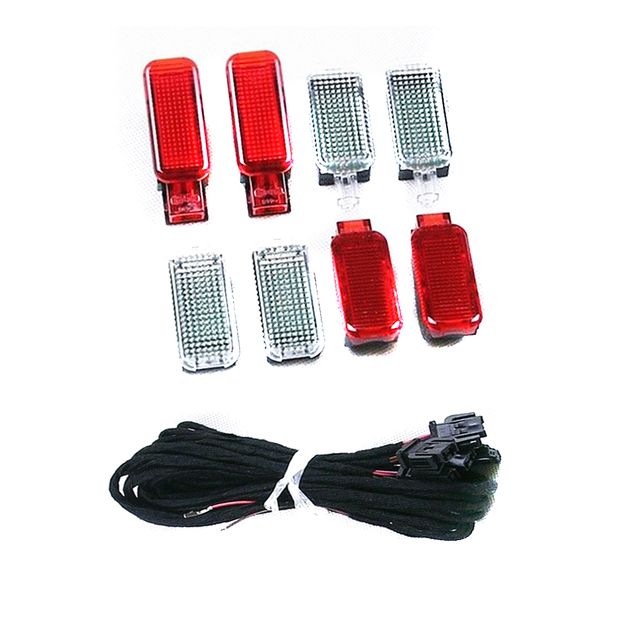 TUKE OEM  8 pieces of Door Warning Light + LED Footwell Lights + Cable Fit A4 A5 A6 A7 A8 Q3 Q5 Q7 TT 3AD947409 8KD947411